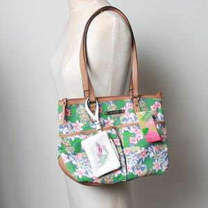 Tropical NWT Rosetti bag with brown leather accent